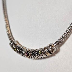 Garnet & Peridot Glass Studded Necklace